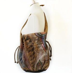 BLOOM Hand Painted Leather Boho  Bucket Handbag